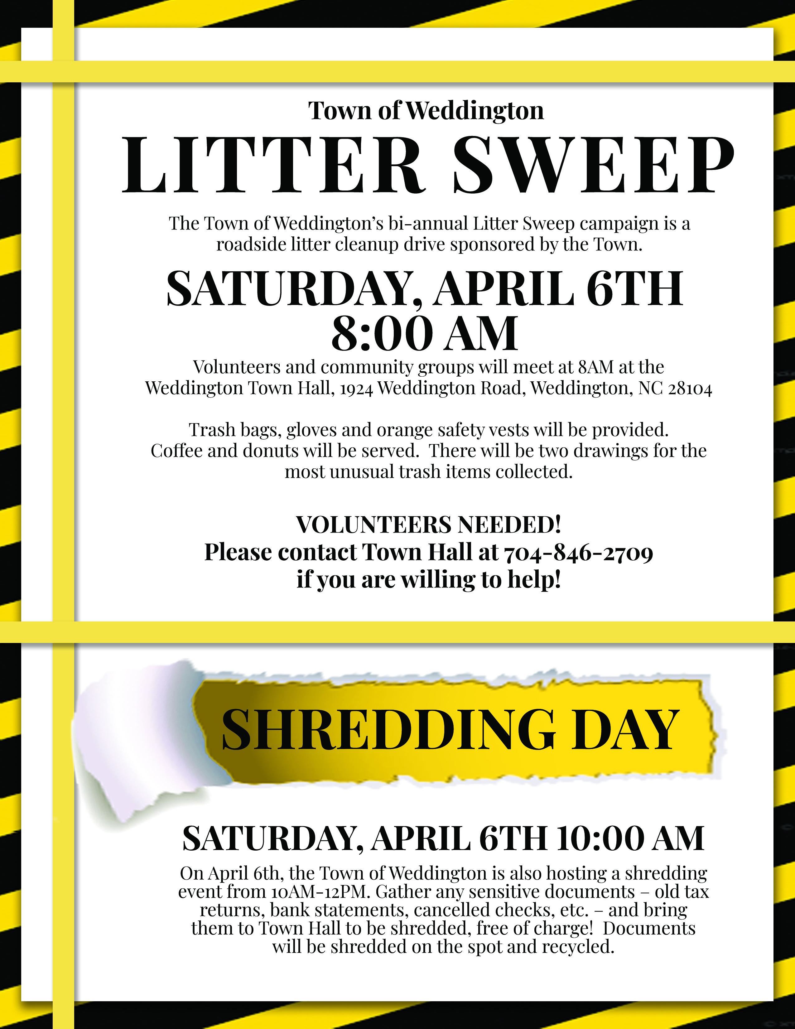 Litter Sweep and Shredding Event | Town of Weddington